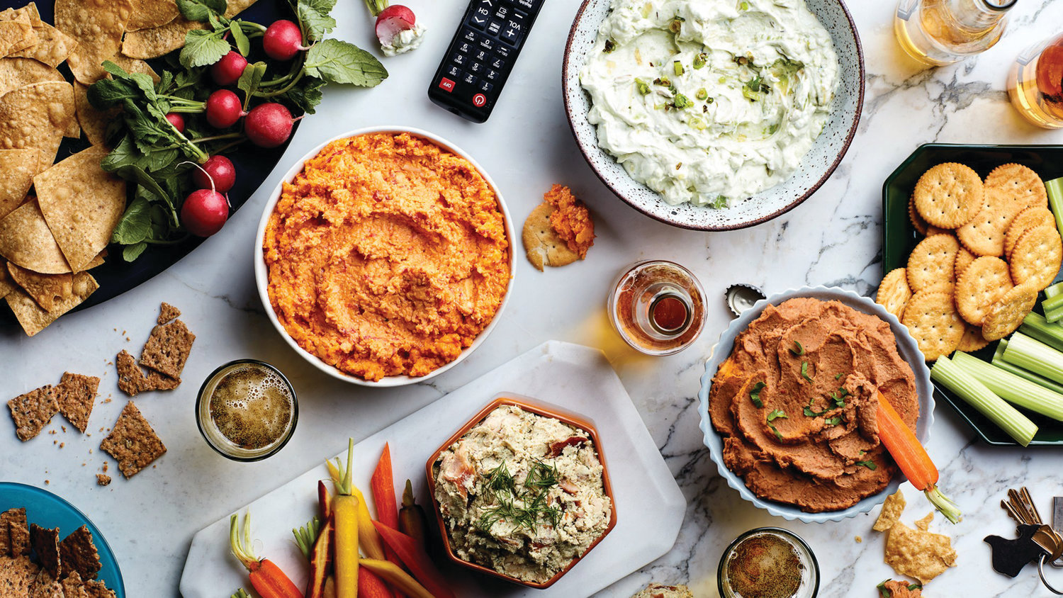 There are plenty of great dips served with a variety of vegetables, chips or crackers that provide noshes to everyone watching the Super Bowl game Sunday. Many of the dips can be prepared ahead of time — even those that require baking — allowing the hosts to enjoy their guests as well as the game.