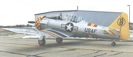 The AT-6d Warbird that Alan G. Samford owned and flew every chance he could. This type of plane was used from World War II into the 1970s for training military pilots.