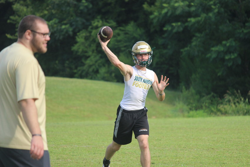 South Johnston quarterback Chase Carroll fires a pass in South Johnston's first official practice last Thursday.