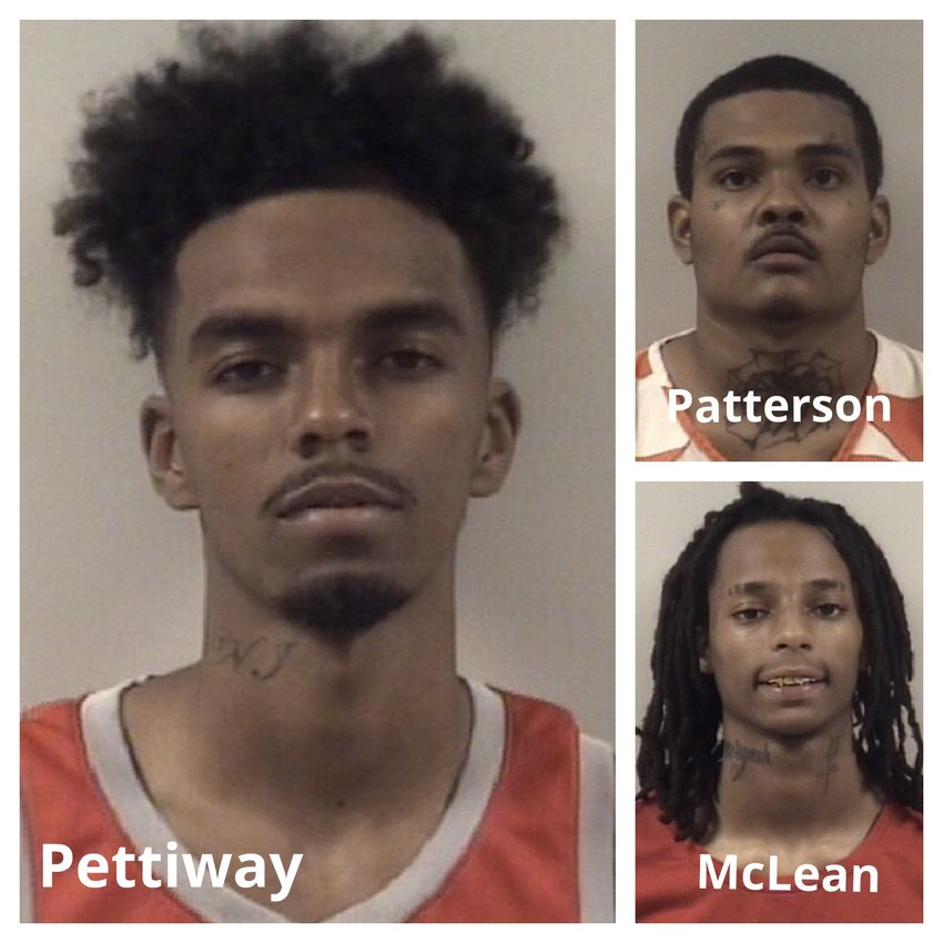 Police are searching for John Wesley Pettiway III, left, in connection to a convenience store robbery that left Joseph Shane Bowling dead in McGee's Crossroads Nov. 14. Manuel Jamie Patterson and Bobby Gene McLean Jr., at right, have been arrested and charged with murder, armed robbery and felony conspiracy.