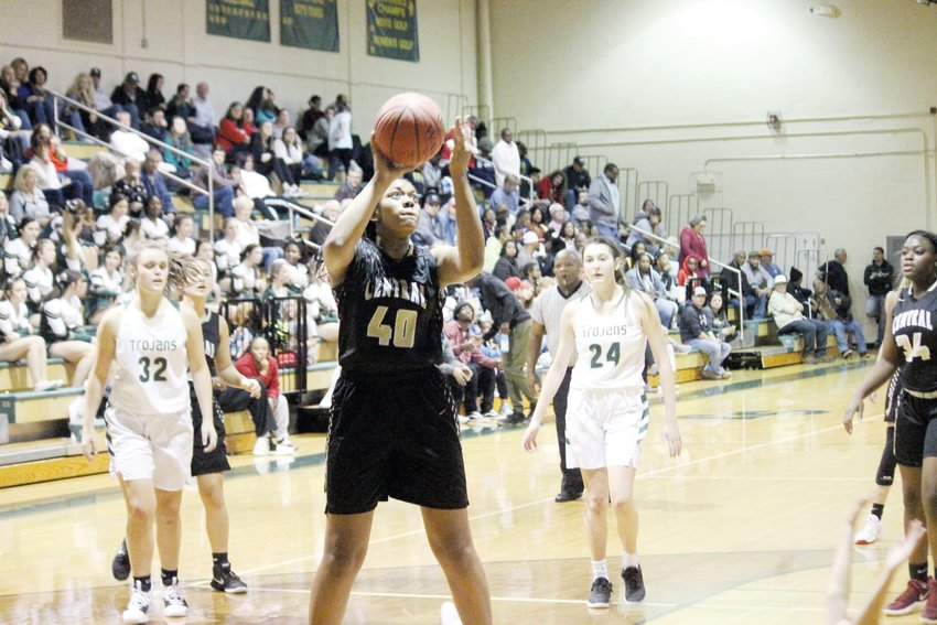 Syniah McMiller goes up for 2 of her game-high 17 points in Harnett Central's 45-22 win at South Johnston on Friday.