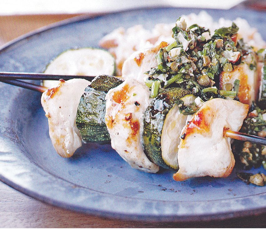 In this recipe for 'Spiedini of Chicken and Zucchini with Almond Salsa Verde' from 'Cooking Light: Dinner's Ready' (Oxmoor House) by The Cooking Light Editors, skewers are paired with a zesty salsa full of nuts, herbs and citrus, which makes for the perfect complement to the smoky grilled flavor.