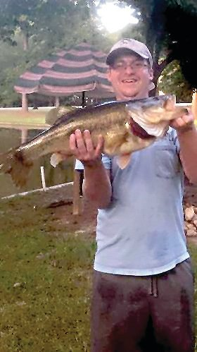 Lillington native Frankie Sudia caught this 9-pound, largemouth bass in Peebles' Pond last week. Sudia is a former Harnett Central High School tennis player who now studies at The University of North Carolina at Wilmington.