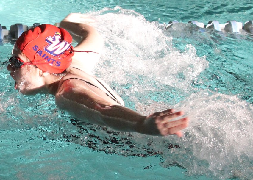 Southern Wayne's Jayla Edgecomb competes in the girls' 200 individual medley during a season-opening meet at the Goldsboro Family Y.