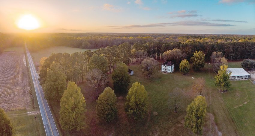 A drone shot shows Bentonville Battlefield State Historic Site at sunset. The historical site is located at 5466 Harper House Road, Four Oaks, 3 miles north of Newton Grove on S.R. 1008.