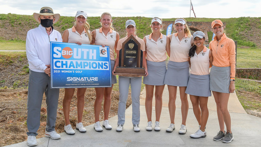 Members of the Campbell women's golf team are shown after winning the Big South Conference title Saturday. From left, head coach John Crooks, Anna Nordfors, Sanna Lundmark, Isabell Ekstrom, Patricia Garre Muñoz, Emily Hawkins, Tomita Arejola and assistant coach Lyndsey Hunnell.