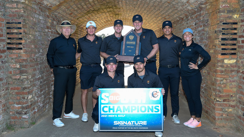 The Campbell men's golf team, seen here at the 2021 Big South Men's Golf Championship, received the league's automatic berth to play in the NCAA Regional May 17-19.
