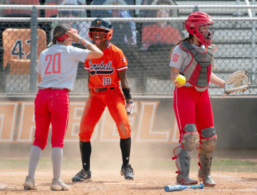 Destini England, center, was named Big South Player of the Year to lead six Campbell softball players selected for all-conference teams.
