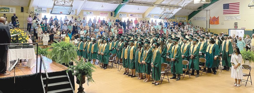 North Duplin's class of 2021 gather for commencement inside the school gymnasium. This was the first graduation to be held in the gym since 2002. Commencement was held at the University of Mount Olive between 2003 and 2019.