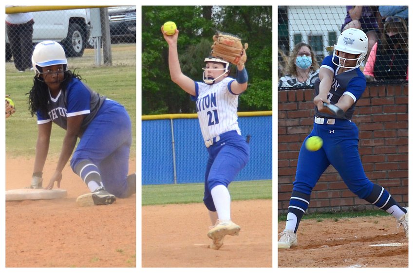 Triton's Takyra McLean, left, Gracyn Slaughter, center, and Kaila Cooney were all selected to the NCSCA 2021 All-State Softball Team this week.