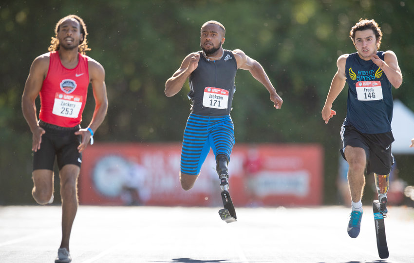 Campbell University alum Desmond Jackson, center, runs during the U.S. Paralympic Team Trials for Track and Field on June 18 in Minneapolis. Jackson will attempt to medal in the 100-meter dash at this year's Games in Tokyo starting Aug. 27.