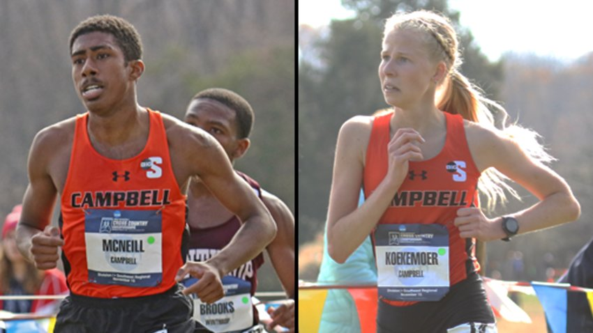 Campbell's Laderique McNeill, left, and Shanley Koekemoer are among the standouts for their respective cross-country squads. The CU men's team was tabbed first in the Big South preseason poll.