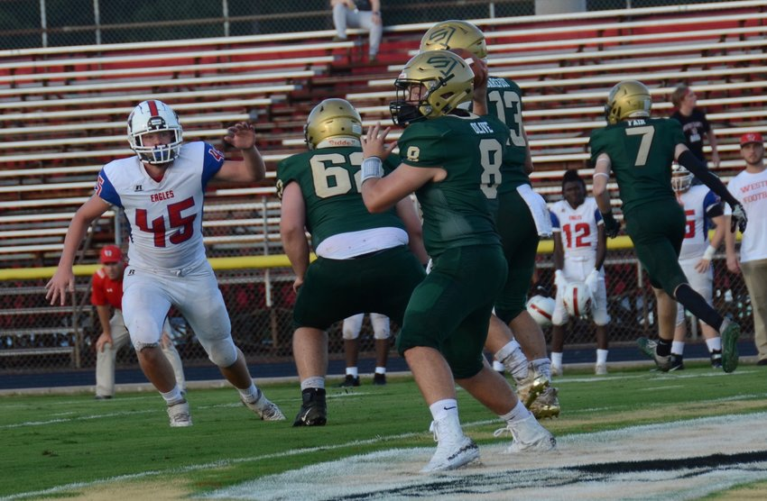 South Johnston quarterback Paul Olive (8) has been named Student-Athlete of the Week for Aug. 16-22 after collecting a game-high five touchdowns in Friday's win at Western Harnett.