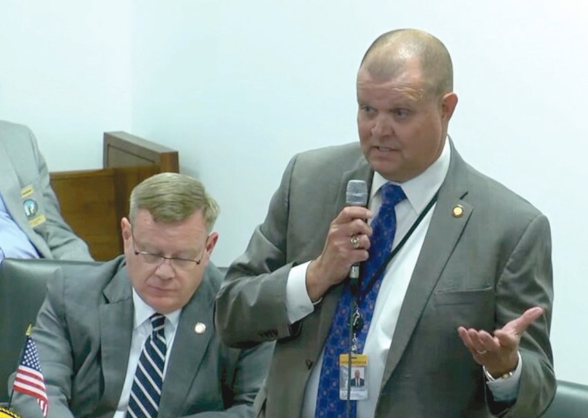 Rep. Charles Miller, R-Brunswick, speaks on an anti-rioting bill as House Speaker Tim Moore, R-Cleveland, listens. (Image from YouTube)