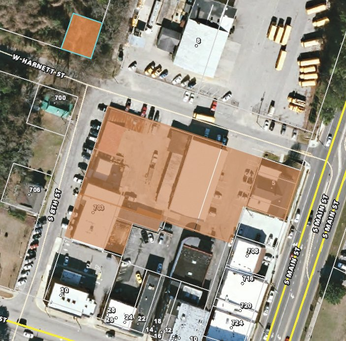 These shaded properties at the corner of West Harnett Street and South Main Street in Lillington are owned by Harnett County Schools, but will be given to the town of Lillington in a land swap agreement.