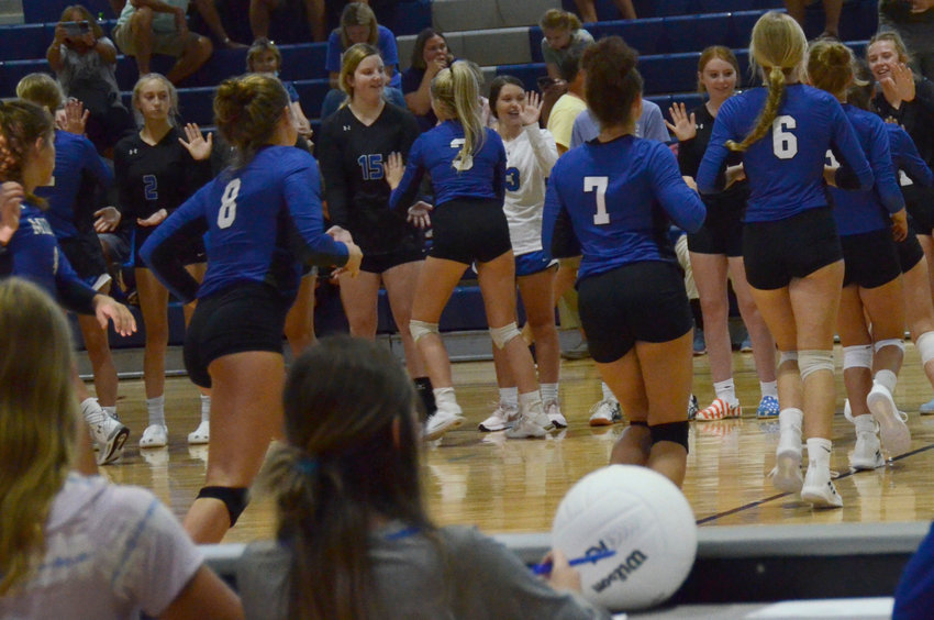 The Midway volleyball team won its conference opener at Red Springs in straights sets Thursday.