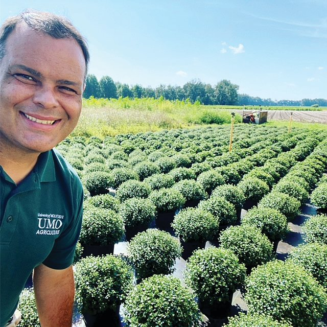 Jason Davis, University of mount Olive assistant dean of the School of Agriculture and Biological Sciences, is shown here with a field of mums.