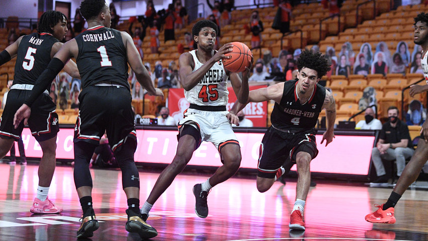 Campbell's Cedric Henderson Jr. (45) returns as the team's top scorer for the 2021-22 season. The Camels are set to make trips to Duke, VCU and Marshall this year.