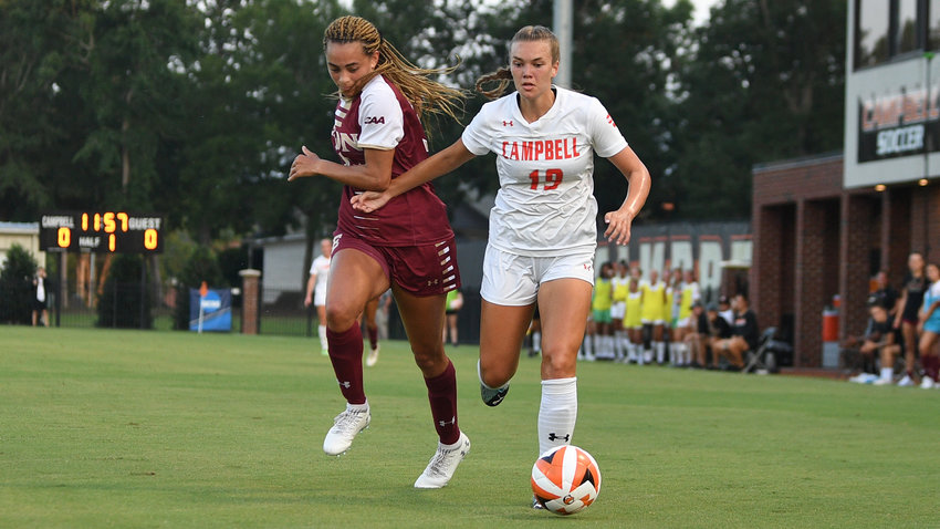 Kaleigh Backlund, right, netted two goals in the opening half to help Campbell top Presbyterian Thursday.