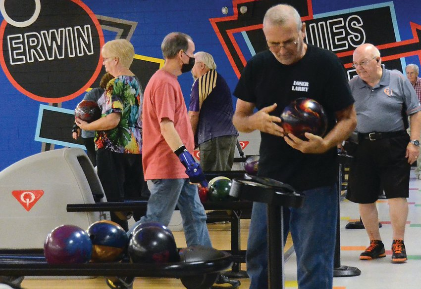 Members of the Afternoon Delights bowling league are seen at Buffaloe Lanes in Erwin on Sept. 22. The bowling center hosts two leagues tailored for seniors each week.