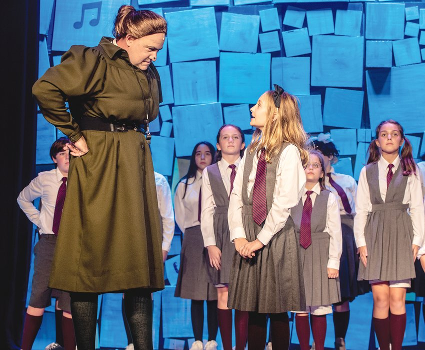 Pictured from left are Brandt West (Tommy), Jonathan Daniels (Agatha Trunchbull), Natalie McMahon (Big Kid), Rilyn Kerley (Hortensia), Nora Williams (Matilda), Scarlett Moore (Lavender) and Maggie Holly (Amanda).