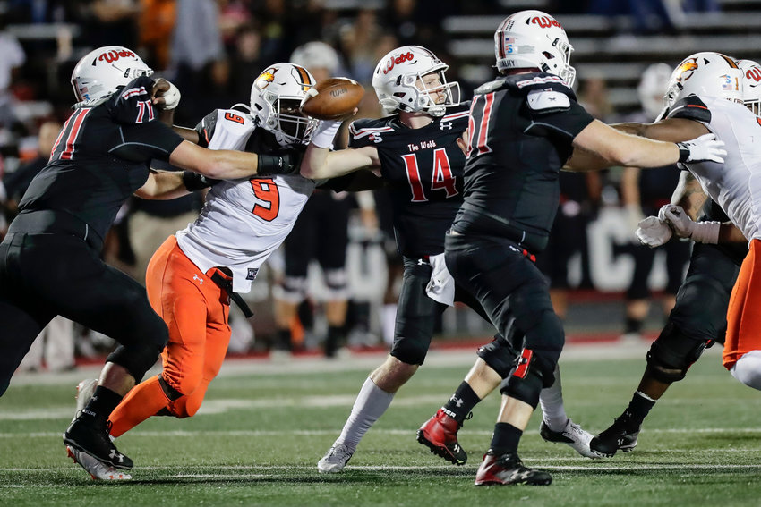 Campbell defensive end Brevin Allen (9), seen here against Gardner-Webb last Saturday, has been named Big South Conference Defensive Player of the Week.