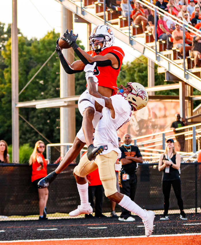 Campbell wideout Caleb Snead leaps for a touchdown grab against Elon on Sept. 11. The senior leads CU with seven TD catches this season ahead of Saturday's matchup against Monmouth.