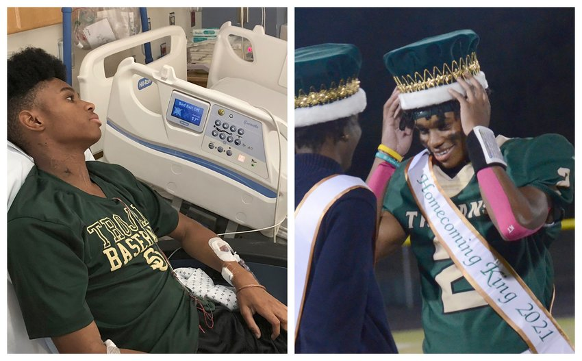 The left photo depicts South Johnston athlete Jaydn McNeill recovering from MIS-C at UNC Medical Center in January. The right photo shows McNeill (2) being crowned as the senior class homecoming king during last Friday's win over Southern Wayne.