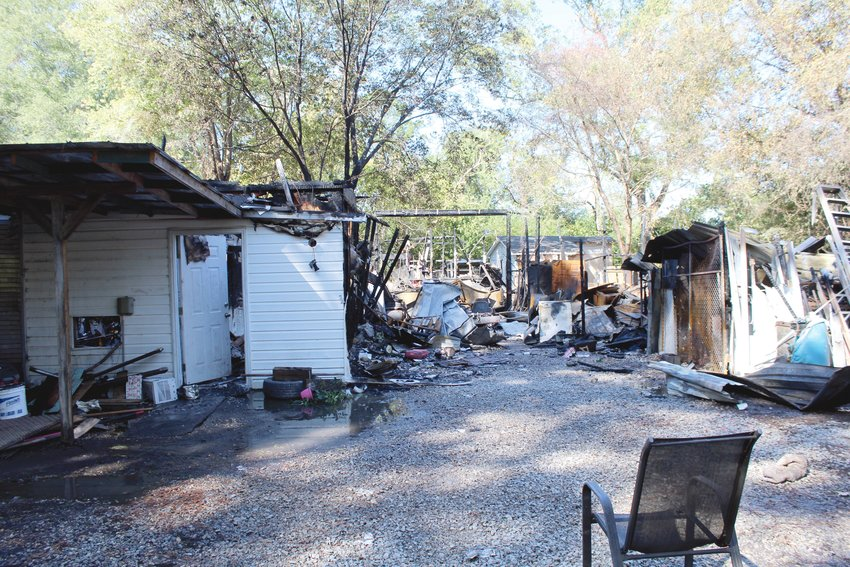 Fire heavily damaged a metal shed Monday morning on Erwin Road.