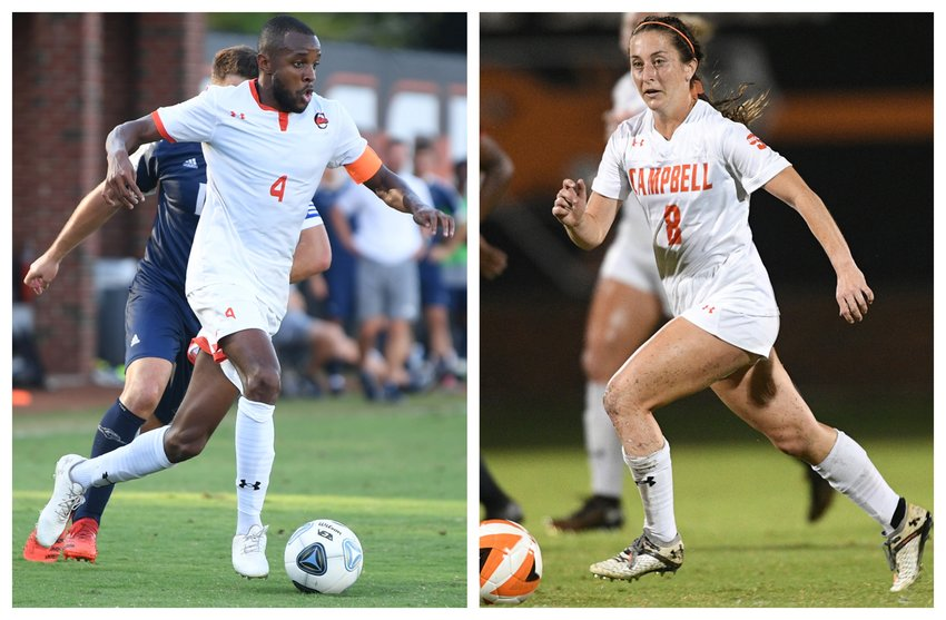 Campbell's Franck Momo, left, and Emma Bushee each took top defensive weekly honors from the Big South Conference.