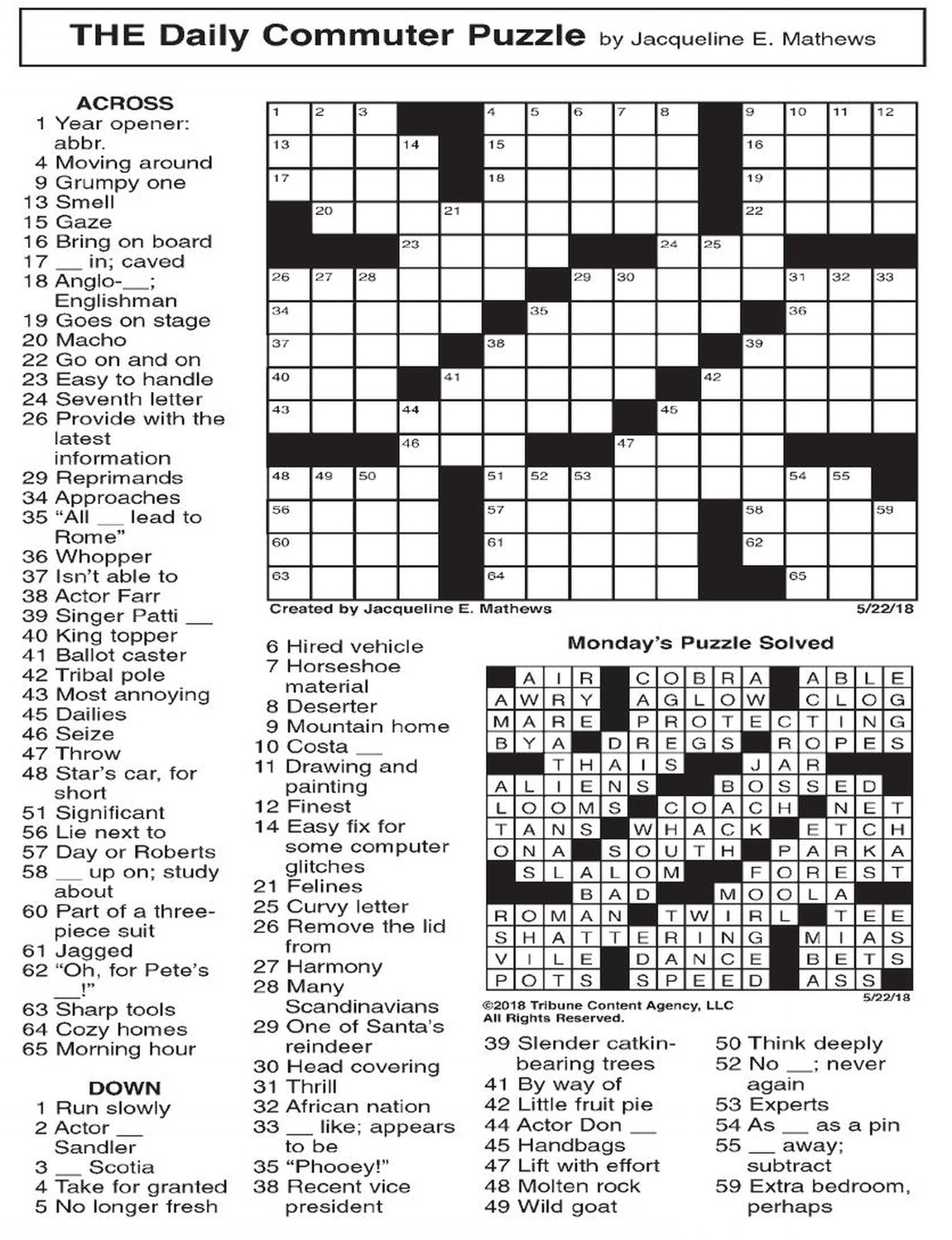 want ad letters crossword the daily commuter puzzle the daily record 25467 | 20180607 070907 image 3