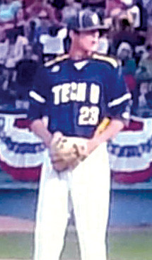 Harnett County's own, Tanner Myatt is shown here  at age 17, pitching for Florence-Darlington Technical Collge in the College World Series, in Grand Junction Colorado. In 2017, the Stingers