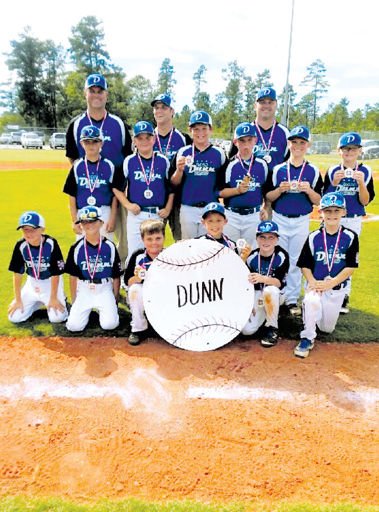 Dunn's 10U Dixie Youth Baseball All-Stars won their district championship in June. They are, in no particular order, Tres Daughtry, Kasey Lee, Camden Wilson, Carson Tew and Vander Phillips. Middle row from left are Jayden Stephenson, Wyatt Scott, Tanner Williams, Alan Hinson, Braiden Arendt and Harry Johnson. In the back from left are coaches Dustin Hinson, Tommy Daughtry Jr. and Terry Williams. After winning, 24-0, over Waccamaw, they lost consecutive games to Boger City and South Stanley and were eliminated from the state tournament on Monday. The Dixie Youth Majors begin state tournament play on Friday in Kenansville. Their World Series is Aug. 4 in Lumberton. The Dixie Youth Darlings, Angels and Ponytails begin state torunament play Friday in Laurinburg. Their World Series is July 27 in Alexandria, La.