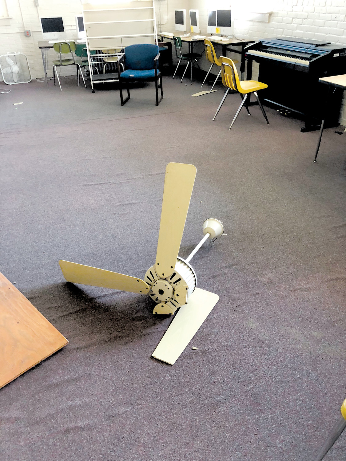 This ceiling fan fell over the weekend in a classroom at Erwin Elementary School. Officials are concerned about the condition of the aging facility which they say needs to be replaced.