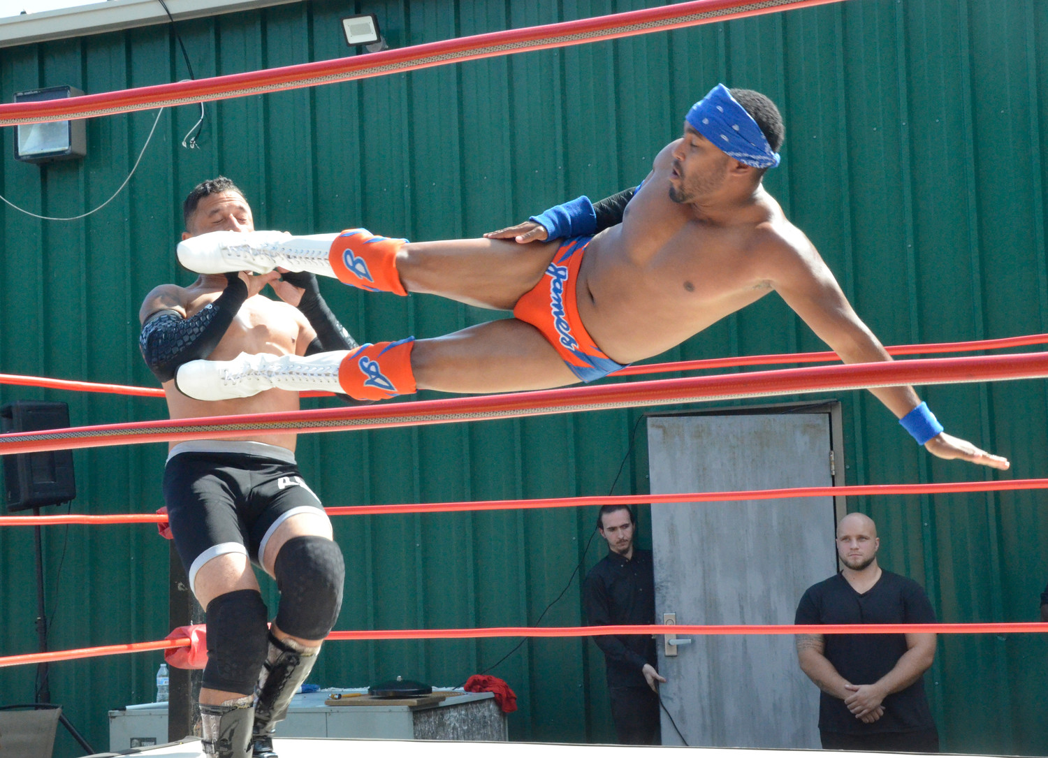 James Anthony hits the mark with a drop kick to the chops of Chance Lebeaux. Ring Wars Carolina owner Eddie Brown said his team is hoping to bring another wrestling match to the Dunn area in October or early November.