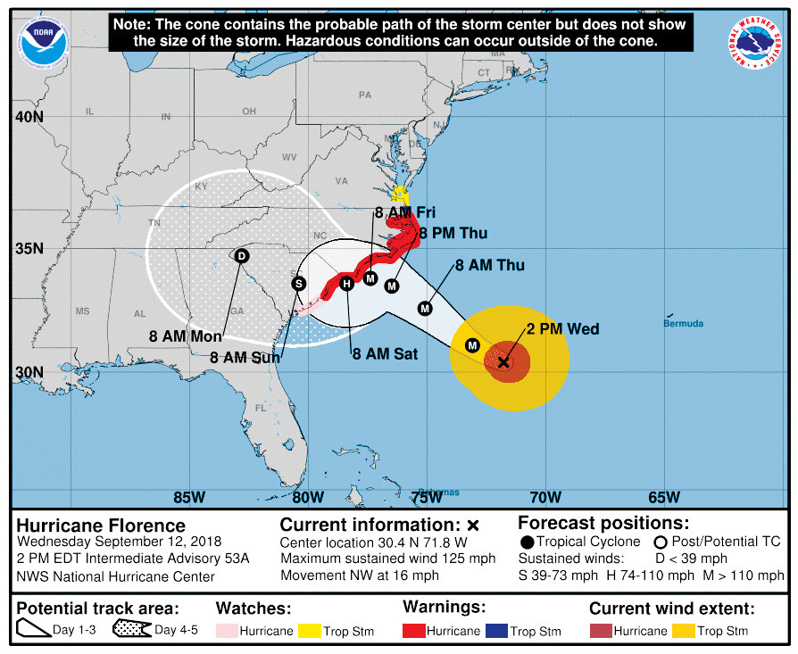 The map shown here, provided by the National Weather Service at 2 p.m. Wednesday, shows the likely path of Hurricane Florence. Officials note that high winds and heavy rains can occur outside of the projected path of the storm.