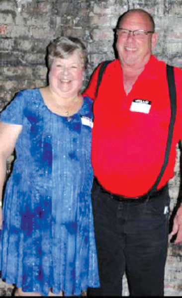 Denise Baker, left, and Bob Burns at the Guilford Mills reunion held at the Indigo Room in Erwin.