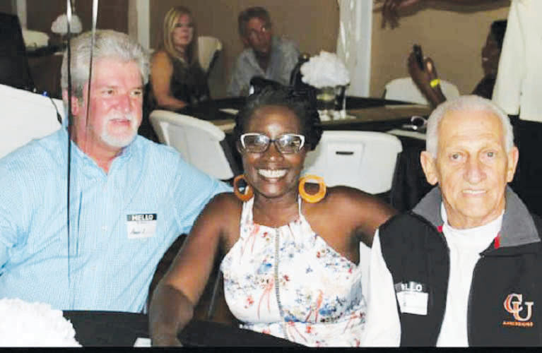Pictured from left at the Guilford Mills reunion are Howard Whitehead, Wanda Pipkins and Joe Temple.