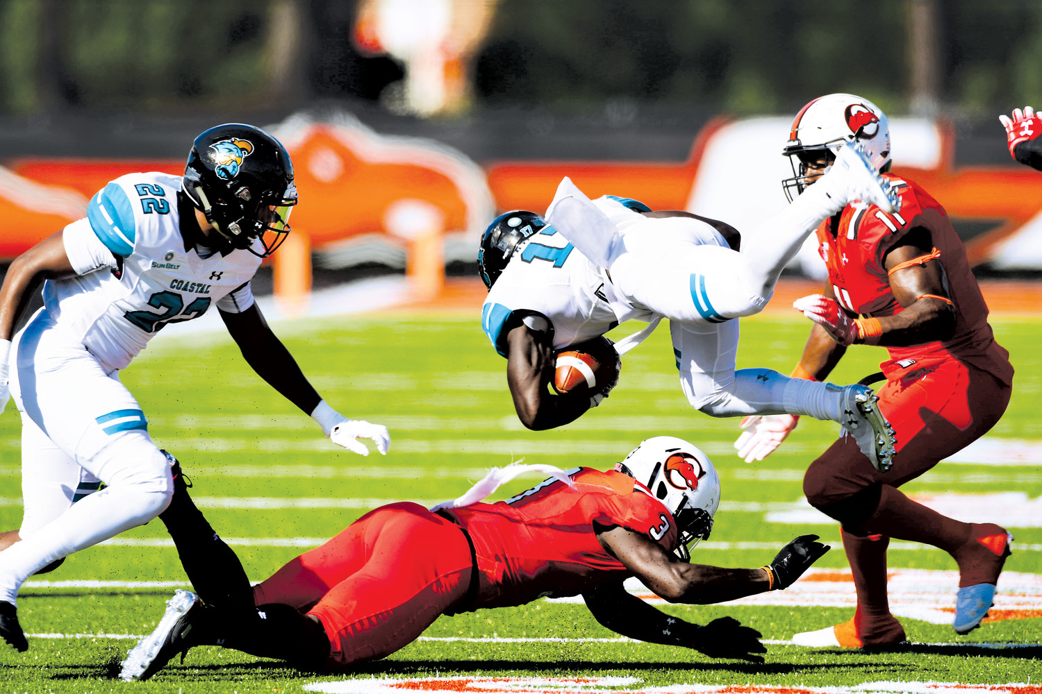 The Campbell Camels hosted FBS opponent Coastal Carolina Wednesday afternoon at Barker-Lane Stadium. Coastal defeated the Camels 58-21.