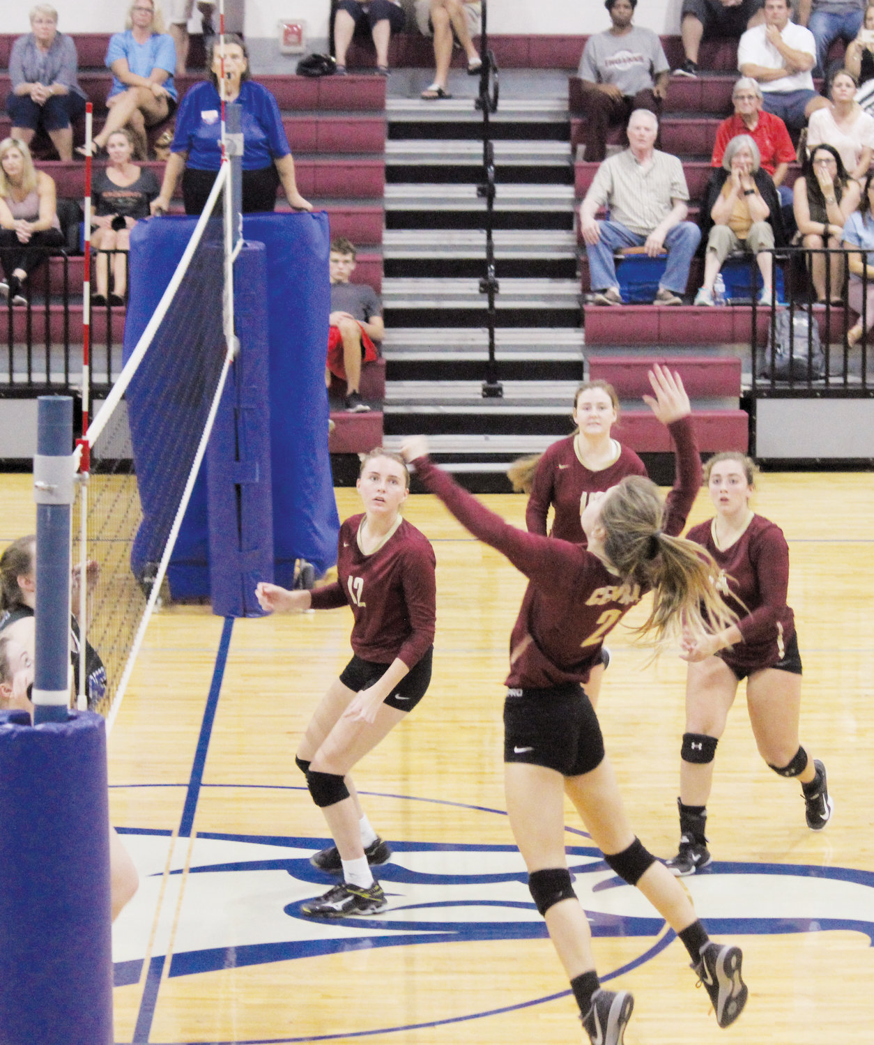 Kylee Frailey rises up for one of her 14 kills in Tuesday's 3-1 win over Triton at Coats-Erwin Middle School.