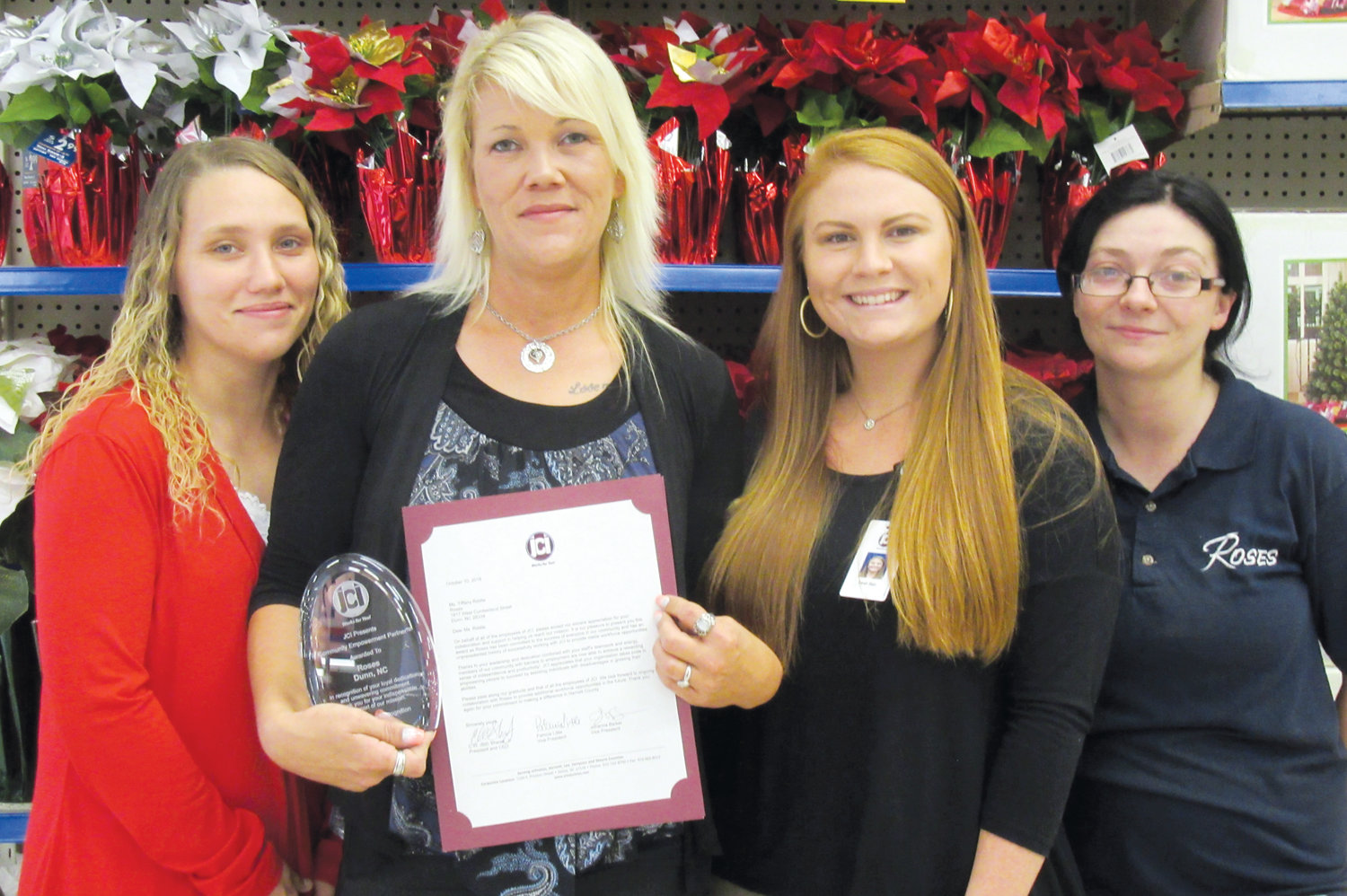 Pictured from left are Dana Brown, Tiffany Riddle, Sarah Bain, JCI Employment Specialist, and Jessica Fish.