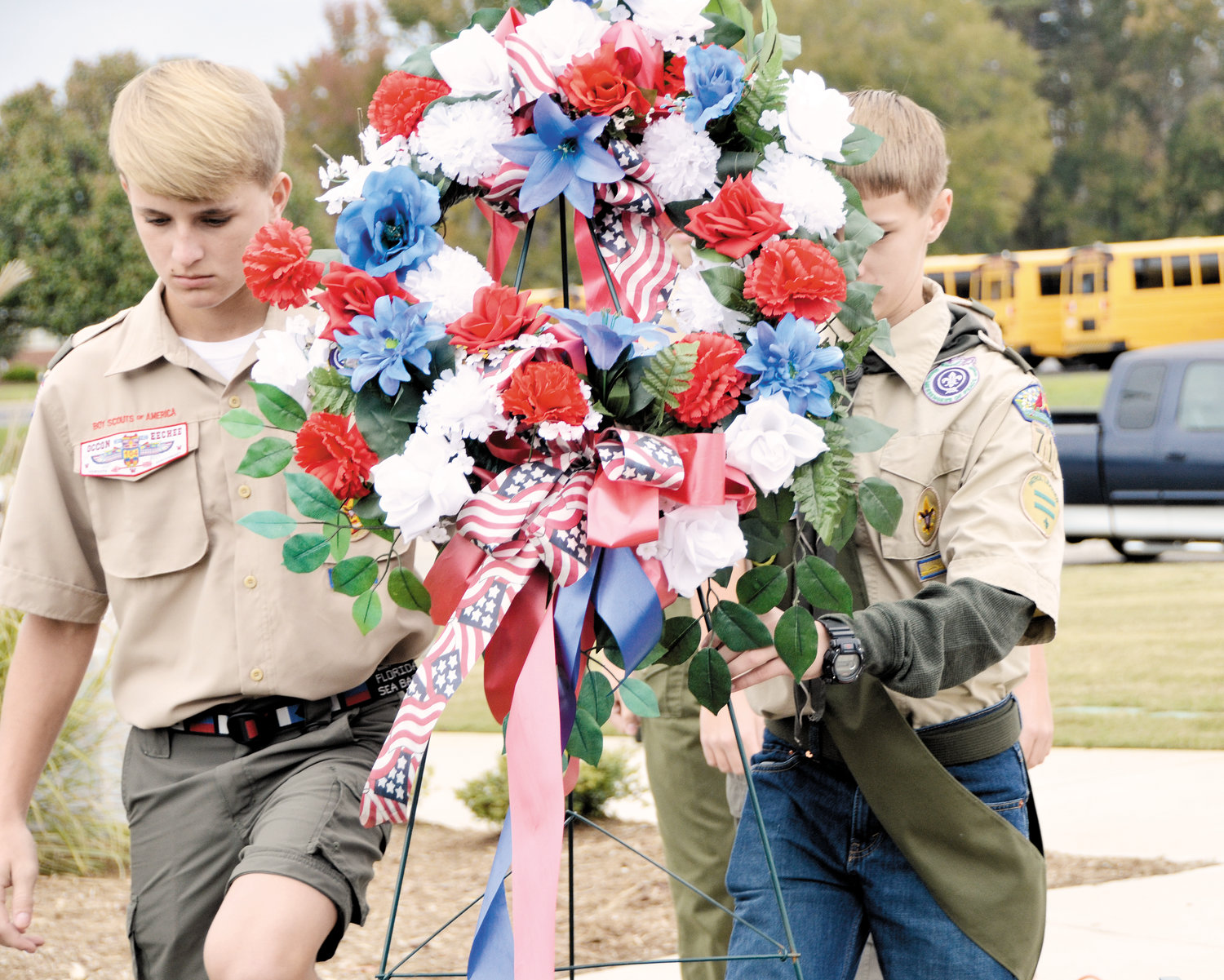 Members of Dunn Boy Scout Troop 711 laid the wreath last year during Dunn's Veterans Day remembrance which will be held once again this year on Sunday at Tyler Park. The Scouts participating last year were Garrett Warren, Logan Stroud, Gavin Harris, Carson Smith, Jackson Warren and Anderson Wood.