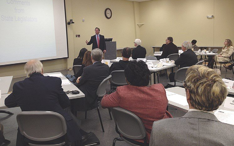 Rep. Larry Yarborough, R-Person, speaks during a Legislative Breakfast held Monday at Piedmont Community College.
