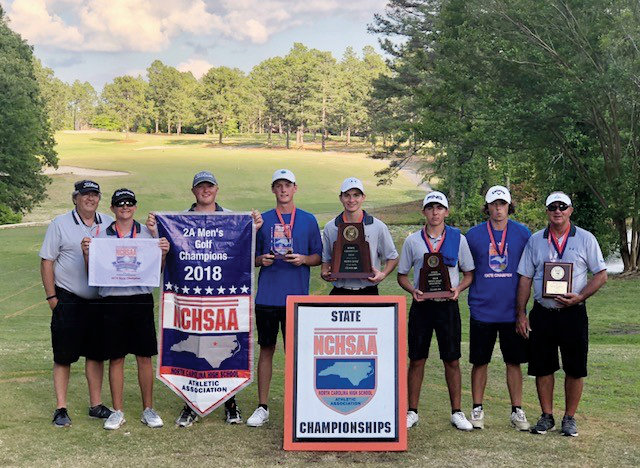 The Midway High School's state championship golf team members are, from left, coach Donnie Moore, Matthew Faircloth, Austin Marley, Trey Pope, Jordan Sullivan, Logan Patrick, Andrew Eldridge and coach Glen Patrick.