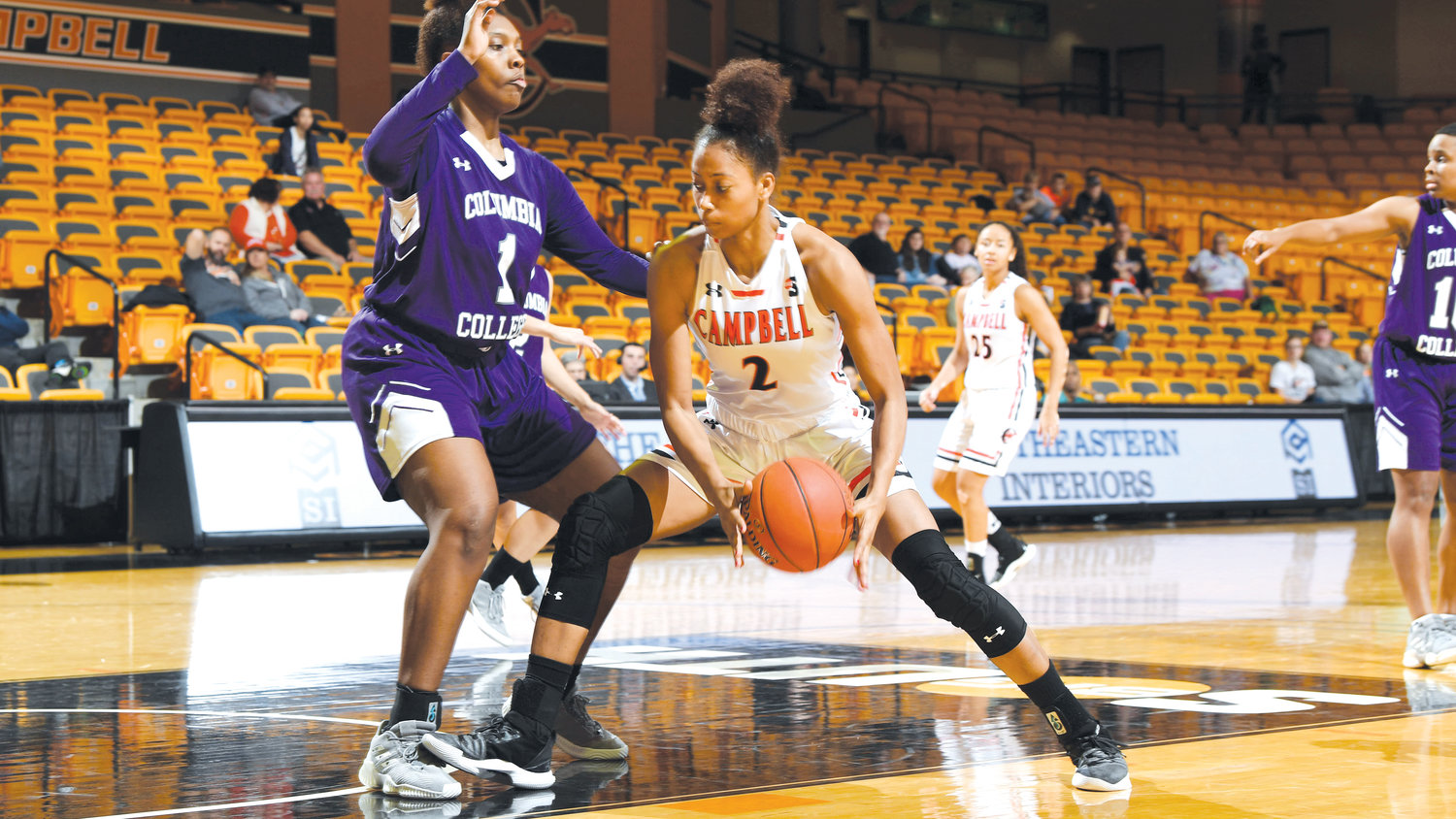 Four Camels reached double-figures in the 47-point win Sunday against Columbia College, including Lauren Carter (No. 2) shown here, who had a career high of 16 points.
