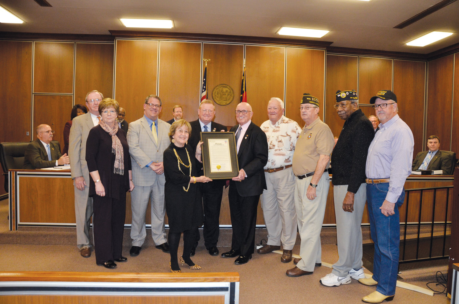 Honoring Veterans Treatment Court are from left, retired Judge Andy Corbett, Clerk of Court Marsha Johnson, District Attorney Vernon Stewart, Chief District Court Judge Jackie Lee, court Director Mark Teachey, American Legion Post 59 Commander and Mayor Oscar Harris, former state Legion Commander Eric Sinclair, VFW Post 6767 Commander Robbie Hardison, DAV Chapter 74 Commander John Woods and Johnston County Vietnam Veterans of America Chapter 990 Past Commander Ronnie Williams.