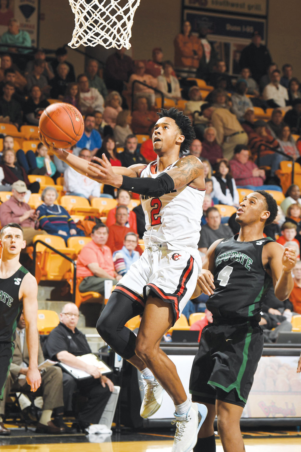 Ja'Cor Nelson goes up for two of his 18 points in Campbell's 82-66 win over USC Upstate in Gore Arena on Saturday.
