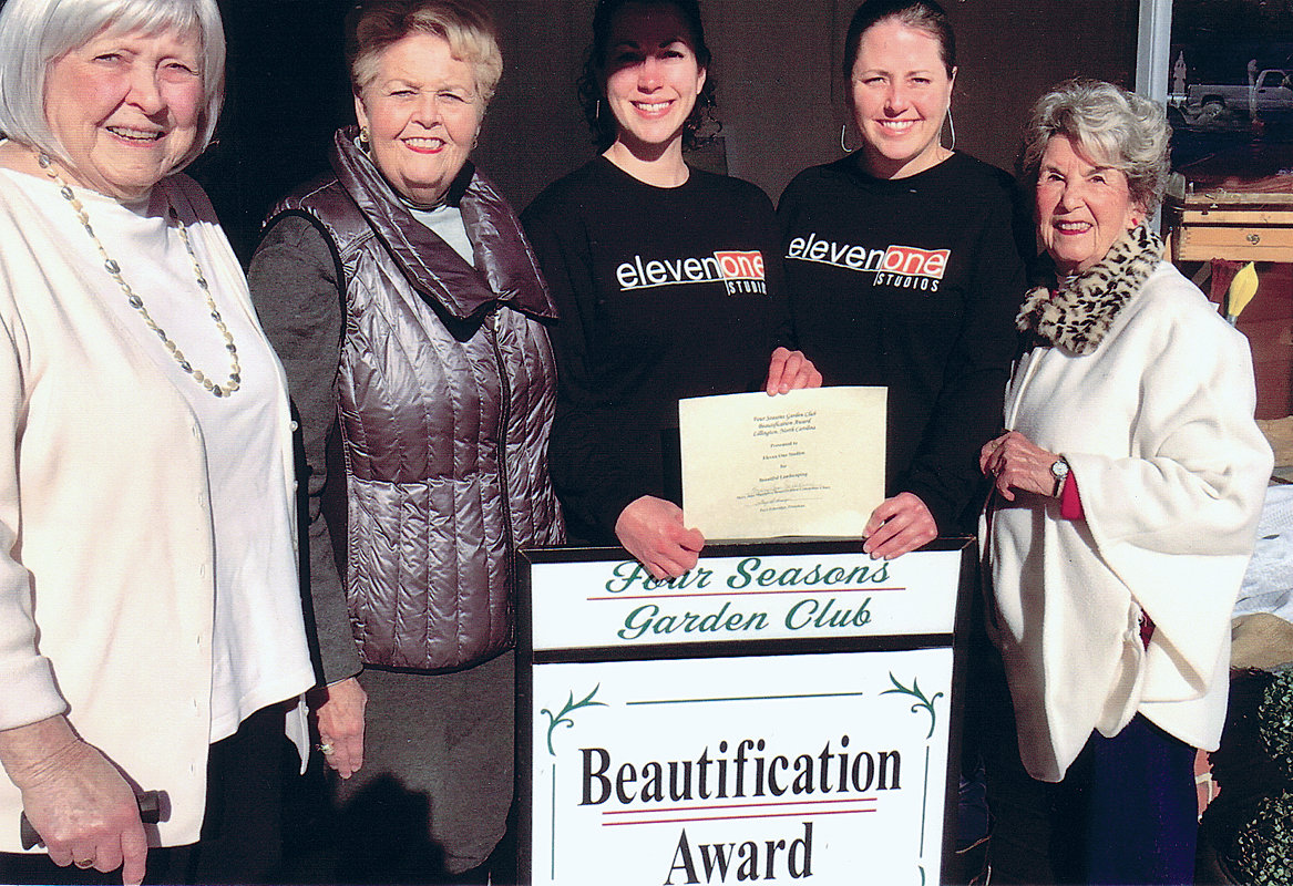 Pictured from left are Four Seasons Garden Club Beautification Award Committee members Faye Bain and Dianne Johnson, Eleven One Studios owners Angelica Gonzalez and Brandi Neighbors and Mary Jane Matthews, chair of the Beautification Award Committee.