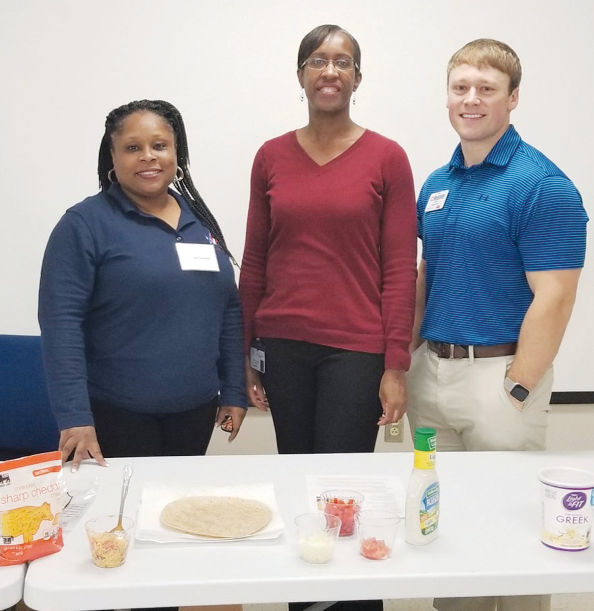 Healthy Cooking on a Budget Program presenters from left are Kittrane Sanders with Cooperative Extension, Belinda Rayner with the Harnett County Health Department and Greg Huneycutt with Cooperative Extension.