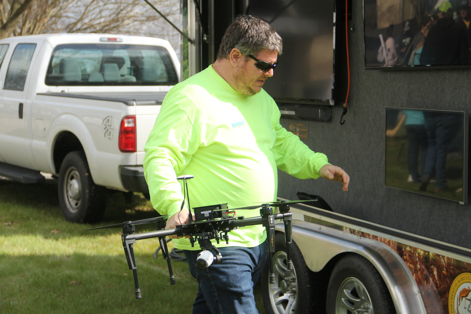 Brenden Bottum with Benchmark Tool & Supply brought a drone to give a flight demonstration as one of the stations at yesterday's Ag Fest.